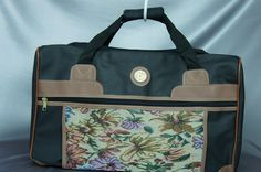 Like new, tapestry set, 2 piece luggage, vintage suitcases, black luggage set, Aude Faibert, travel set.. - http://oleantravel.com/like-new-tapestry-set-2-piece-luggage-vintage-suitcases-black-luggage-set-aude-faibert-travel-set