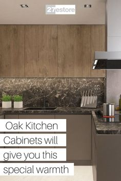 When the time comes to start updating your current kitchen cabinets, or if you are moving into a new home and trying to determine what kitchen design, you want you will find many options available to you. In the arena of kitchen cabinets, there is a plethora of options available to choose from no matter what your specific tastes may be. One of the most popular types of cabinets used is oak kitchen cabinets. Dark Oak Cabinets, Types Of Kitchen Cabinets, Modern Cabinets, Warm Kitchen, Kitchen Decor, Kitchen Design, The Dark One, Light Oak, Red Oak
