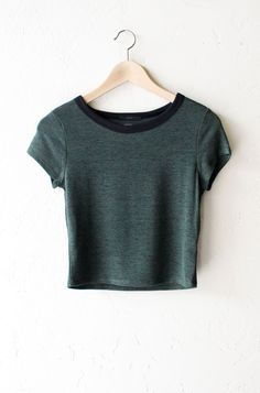 """- Description Details: Knit hacci cropper ringer tee in olive with black contrast collar band. Form fitting, tend to run on the smaller side & are more fitted. Measurements (Size Guide): S: 31"""" bust,"""