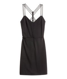 Fitted dress in jersey with decorative straps at back, concealed side zip, and jersey lining. |Party in H&M