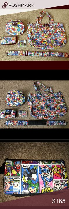 Tokidoki x Jujube - Supertoki lot ALL ITEMS BELOW RETAIL!! $160 for all. Price is firm!  Supertoki lot - (not separating) - SuperBe w/ D-rings added - EUC - Sold separately strap EUC  - Fuel Cell (sweet Victory) - EUC  - Spendy EUC  - Coin Purse NIP tokidoki Bags Backpacks