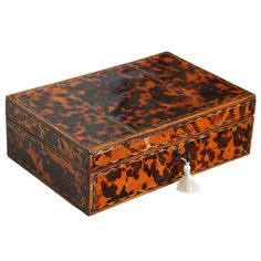 Early 19th Century Faux Tortoise Shell Inlaid Box | From a unique collection of antique and modern boxes at https://www.1stdibs.com/furniture/more-furniture-collectibles/boxes/