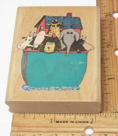 NOAH'S ARK FLOATING IN THE WATER WITH ANIMALS BY RUBBER STAMPEDE  Rubber Stamp   #RubberStampede #regular