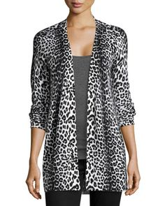 Cashmere Leopard-Print Cardigan, Ivory by Neiman Marcus at Neiman Marcus Last Call.