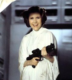 Carrie Fisher on set of Star Wars