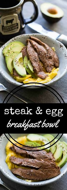This keto diet friendly steak and egg breakfast bowl combines marinated flank steak plus scrambled eggs along with sliced avocado, all garnished with flake salt and cracked black pepper. via @recipeforperfec sponsored by @certifiedangusbeef #bestangusbeef #certifiedangusbeef #steakholder
