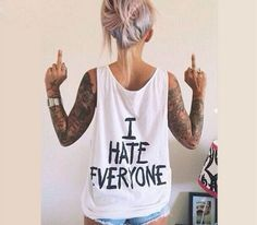 BKLD 2017 Summer New Women T-Shirt I HATE EVERYONE TOPS Funny t shirt Women Sexy Hip Hop Streetwear Tees Design Graphic Female #Affiliate