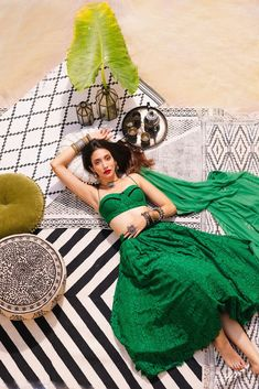 A emerald vintage lace lehenga set, an ankle length skirt with silk under-layers, a bralette and a tulle dupatta with a black embroidered border. Indian Bridal Outfits, Indian Designer Outfits, Indian Dresses, Designer Dresses, Indian Photoshoot, Photoshoot Ideas, Indian Attire, Traditional Outfits, Indian Fashion