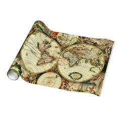 Vintage gillette cricket table lighter old world map cricket old world map 1689 antique travel artwork gift wrap paper gumiabroncs Choice Image