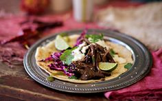 Beef tacos with jalapeño crema recipe - By FOOD TO LOVE, The great thing about this dish, is being able to line up the ingredients and everyone makes their own taco to suit their taste. Try this zesty variation of crema with lime and jalapeno for an extra bit of heat.
