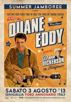 DUANE EDDY ... Summer Jamboree 2013 ... in the rockin town of Senigallia (Italy) ... Official Event Poster