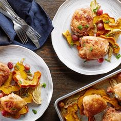 Cumin-rubbed chicken juices season sweet roasted grapes, fennel, and squash in this simple yet flavorful one-pan dinner.