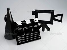 Clapper board and old camera ...  3d, PG, background, black, blue, button, camera, cine, cinema, clapperboard, colour, computer, design, director, drink, entertainment, film, filmstrip, fun, glass, glasses, icon, illustration, isolated, leisure, light, modern, movie, multimedia, object, old, play, popcorn, rating, red, reel, relax, retro, screen, sign, single, soad, square, strip, symbol, ticket, video, white, wide