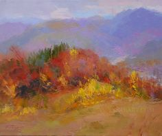 Abstract Modern Art, Landscape Oil Painting -Framed Artwork - Orange Painting Original Art Contemporary Canvas Art