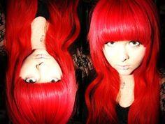 red hair, heavy fringe