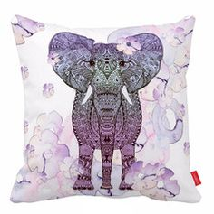 Bohemian Elephant Cushion Cover Purple Accent Pillows For Sofa Sofa Pillow Covers Decorative Cushions Purple Bohemian Bedroom, Purple Bedrooms, Girls Bedroom, Bohemian Bedrooms, Bedroom Ideas, Elephant Cushion, Elephant Room, Purple Elephant, Purple Accessories