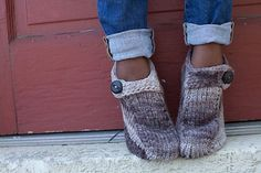 Perfect timing---it's getting just cold enough for these:  Friday Knit Slippers pattern by Kristen TenDyke
