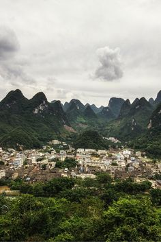 The Xingping and Li river from a nearby mountain in Xingping Guangxi China. Click through to see 25 more of the most beautiful villages in the world!