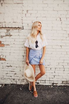 awesome Maillot de bain : summer outfit, straw hat + white top...