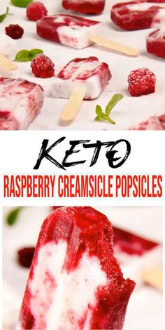 The best 3 ingredient Keto Raspberry Creamsicle Popsicles. If you are looking for an easy no bake vegan, low carb dessert this is a must have recipe in your… Keto Desserts, Keto Dessert Easy, Dessert Healthy, Sweet Desserts, Plated Desserts, Low Carb Keto, Low Carb Recipes, Diet Recipes, Greek Recipes