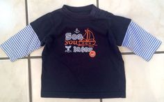 """""""Sea You Later"""" Littke Sailors Layered Longsleeve Tee by Carters 3 Month #Carters"""