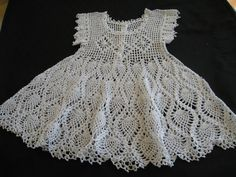 Artículos similares a Bebé vestido de bautizo o flor chica vestido ganchillo algodón blanco vestido SZ 6 - 9 mos en Etsy