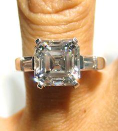 3.22ct 14K White Gold ASSCHER CUT Diamond by TreasurlybyDima, $17600.00