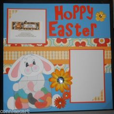 Hoppy Easter Happy Easter Bunny Jelly Beans Premade Scrapbook Layout 12x12   eBay