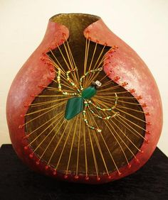 What an awesome spider on a web! by Artist Geri Wood Gittings,What an awesome spider on a web! by Artist Geri Wood Gittings How To Produce Wood Art ? Wood art is typically the work of surrounding around and insid. Decorative Gourds, Hand Painted Gourds, Painted Wood, Halloween Gourds, Gourds Birdhouse, Gourd Lamp, Wood Burning Patterns, Diy Art Projects, Egg Art