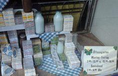 Schaufenster mit Milcherzeugnissen aus DDR-Produktion in Oschatz (Sachsen). August 1990