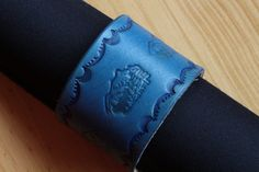 Handmade Blue Leather Mountain Scene Bracelet by Tina's Leather Crafts on Etsy.com.  Repin To Remember.