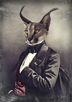 5 x 7 Cat Art Print Wildlife Lynx Steampunk by WatchfulCrowArts, $12.50