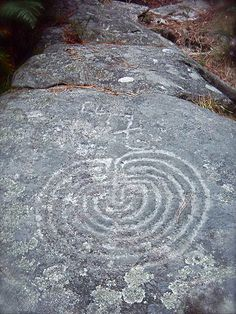 Labyrinth rock carving found at Meis, Galicia, Spain, possibly from the Atlantic Bronze Age (c. 1300–700 BC)