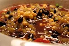 Enjoy making slow cooker chili recipes, you'll adore this mouthwatering combination of pork, beans, and more. This Mexican black bean soup recipe. Ww Recipes, Chili Recipes, Soup Recipes, Cooking Recipes, Slow Cooking, Mexican Recipes, Pressure Cooking, Casserole Recipes, Best Vegan Chili