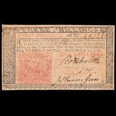 US Colonial Banknote Signed By John Hart (Declaration Of Independence)…