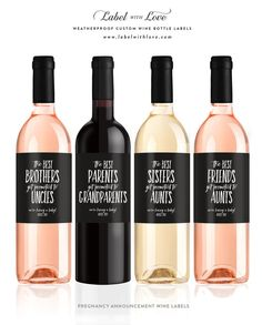Pregnancy Announcement Wine Labels – We're Pregnant We're Having a Baby – The Best Parents Get Promoted to Grandparents Wine Label – Baby Announcement Pregnancy Announcement To Parents, Custom Wine Bottles, Newborn Schedule, Toddler Schedule, Grands Parents, Everything Baby, Baby Time, Baby Sleep, Baby Baby