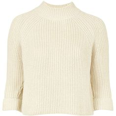 TopShop Petite Boxy Funnel Jumper (205 RON) ❤ liked on Polyvore featuring tops, sweaters, crop tops, jumpers, stone, high neck shirts, high neck sweater, high neck crop top, petite white shirt and white cropped sweater