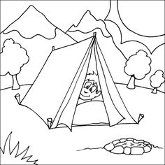 fun printable coloring page boy peaking head out from the tent with fire pit