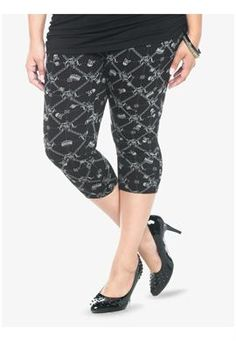 Royal Skull Print Capri Leggings | Plus Size Leggings | OneStopPlus (OMG, the print on these!!!)
