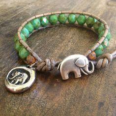 Elephant Leather Wrap Turquoise Safari by TwoSilverSisters on Etsy, $32.00