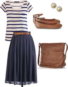 navy chiffon skirt, navy/white striped shirt,  brown flats, brown messenger bag