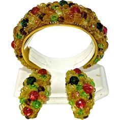 An Important Signed Coppola e Toppo Ornate Multicoloured Crystal And Glass Cuff and Earring Demi Parure