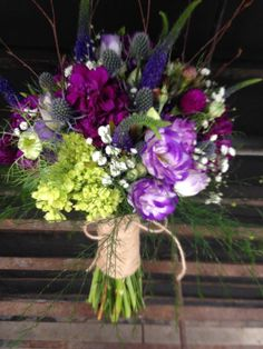 Wildflower Bouquet with Veronica, gomphrena, lisianthus, mini green hydrangeas, eryngium etc...