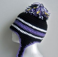 Baltimore Ravens Ear Flap Hat Infant to Adults by StoneThicket, $25.00