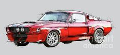 Mustang Shelby GT500 - Handmade drawing, gift for men by Pablo Franchi