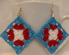 Patriotic Earrings Crochet Granny Square by TheGrannySquared