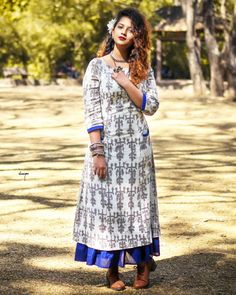The Secret Label White And Blue Cotton Printed Layered Kurti