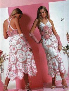 vestido de verano con guantes a crochet