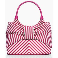 This kate spade new york Seaside Stripe Sutton (195 CAD) is the perfect hand bag to match to Perlae Couture's Pink Chiffon Cocktail Dress, found at www.perlaecouture.com.  Visit Perlae Couture's Style Board for the full look!