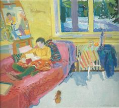 """evans studio in the afternoon. Nell Blaine. She is a major towering figure among artists of the 20th century and yet is not well-known outside artistic circles — not mentioned in several of the surveys I have. Why and how is this? I suspect in part her apolitical comforting vision. She sees the world in """"rainbow colors,"""" even when looking at rooftops of tenements in NYC:"""